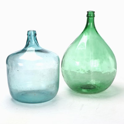 Green and Blue Glass Demijohn Jugs