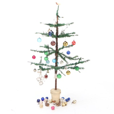 Goose Feather Christmas Tree with Vintage Glass Ornaments, Mid-20th Century
