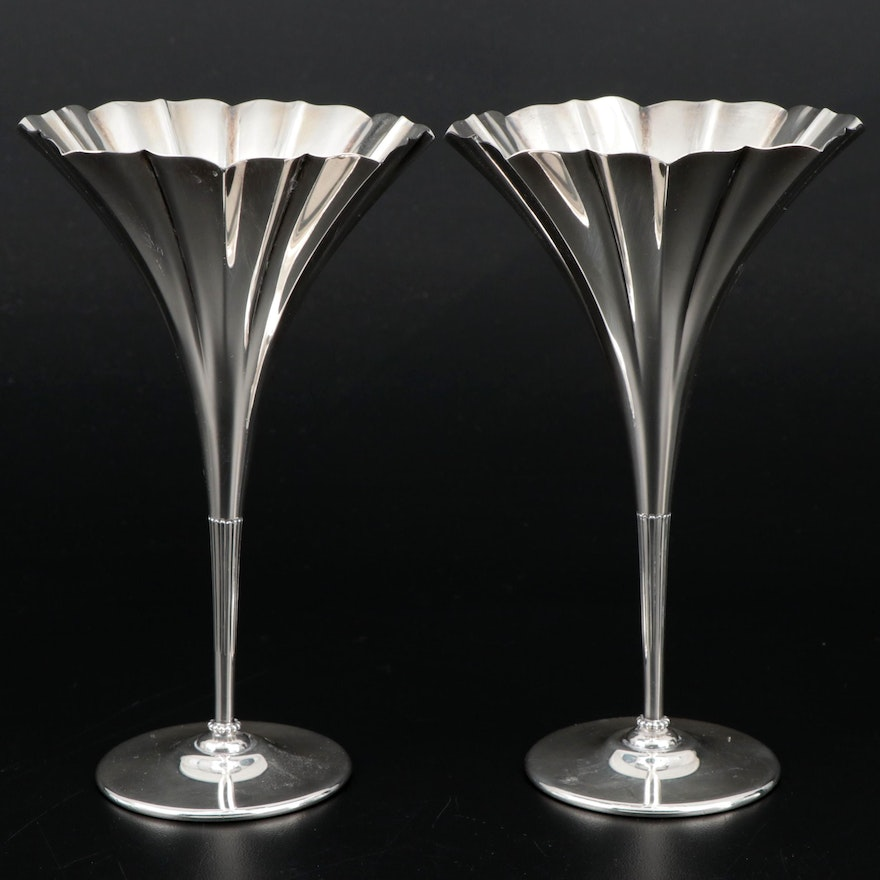 Tiffany & Co. Sterling Silver Trumpet Vases, Early to Mid-20th Century