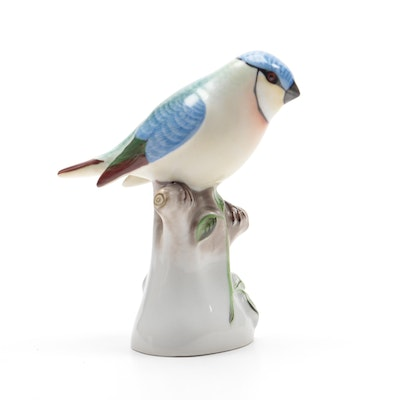 "Herend Natural ""Bird on Stump"" Porcelain Figurine, Mid-20th Century"