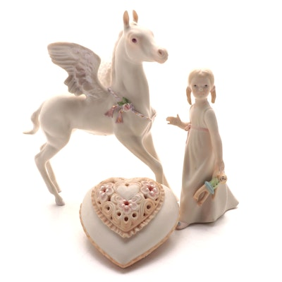 """Cybis Bisque Porcelain """"Wendy"""" and """"Free Spirit"""" Figurines with Heart Box"""