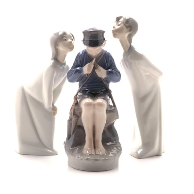 "Lladró and Royal Copenhagen Porcelain Figurines Including ""Boy and Girl Kissing"""