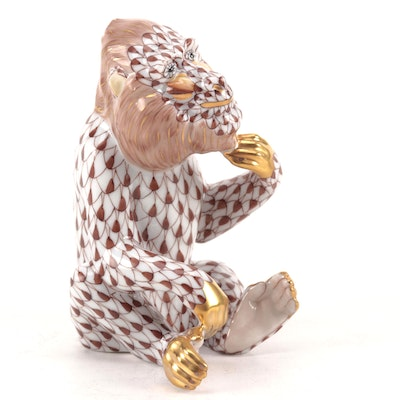 "Herend Chocolate Fishnet with Gold ""Baboon"" Porcelain Figurine"