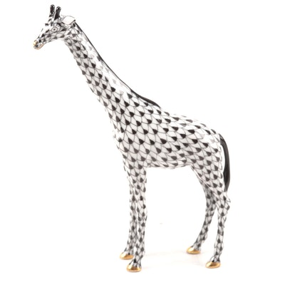 "Herend Black Fishnet ""Small Giraffe"" Porcelain Figurine"
