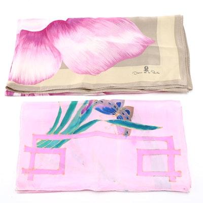 Oscar de la Renta and Triangle Floral Silk Scarves