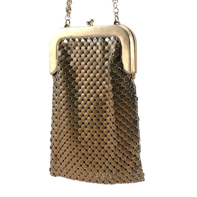 Whiting & Davis Gold Tone Metal Mesh Frame Purse