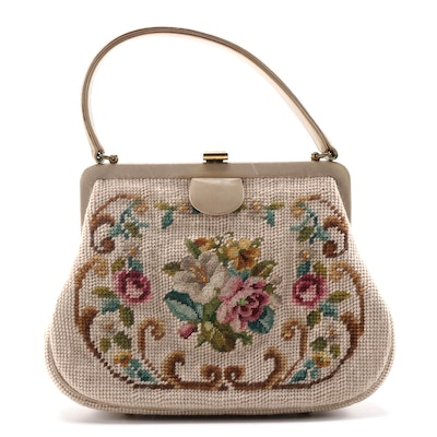 Floral Needlepoint Frame Purse, Vintage