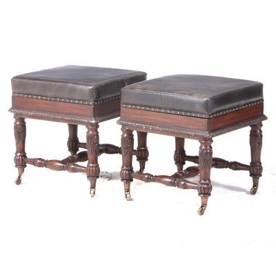 """Pair of Mahogany-Stained and Faux-Leather """"Captain Jack"""" Stools with Gameboards"""