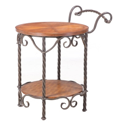 Contemporary Walnut-Stained and Patinated Metal Serving Cart-Form Side Table