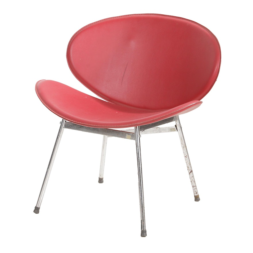 Red Vinyl and Chrome Wide Side Chair, Mid-20th Century