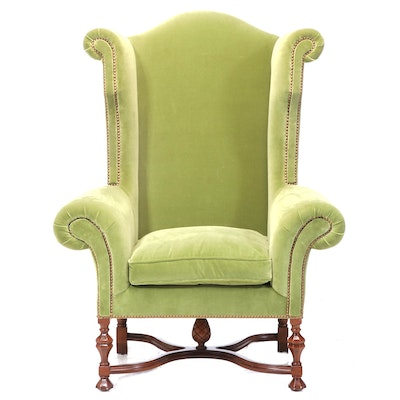 William and Mary Style Velvet Upholstered Wingback Chair with Nail Head Trim