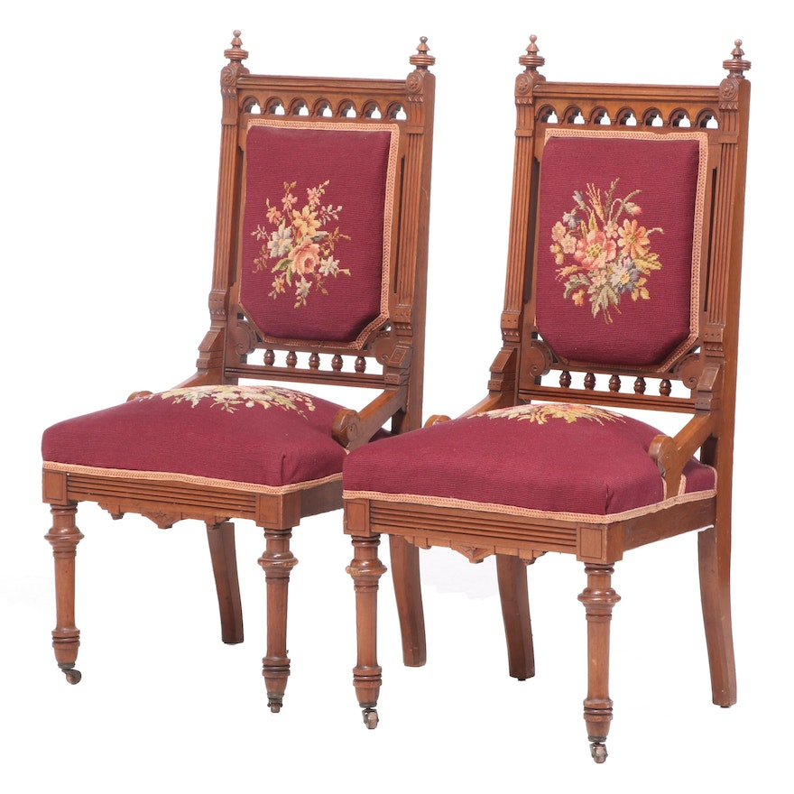 Pair of Victorian Walnut and Needlepoint Side Chairs, Mid to Late 19th Century