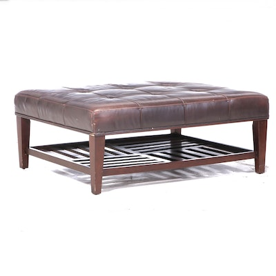La-Z-Boy Mahogany-Stained and Brown Leather Cocktail Ottoman