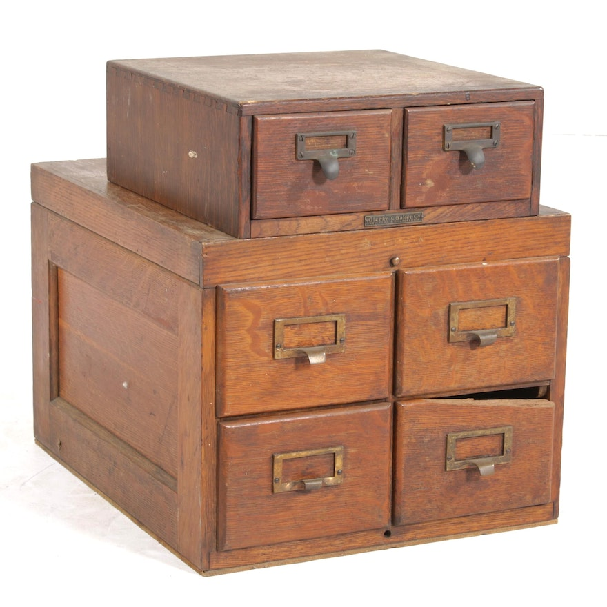 Oak Index Card Chests, Early to Mid-20th Century
