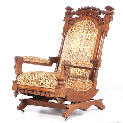 Victorian Aesthetic Movement Walnut and Burl Walnut Platform Rocker