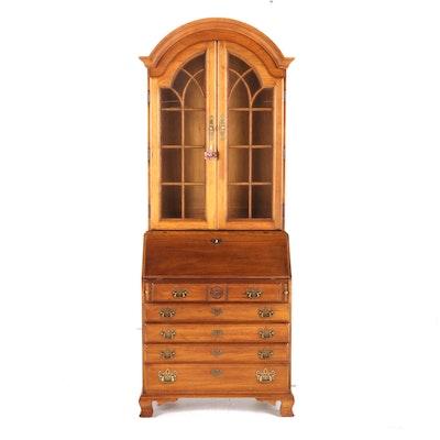 Thomasville 2-Piece Oak Illuminated Secretary Bookcase