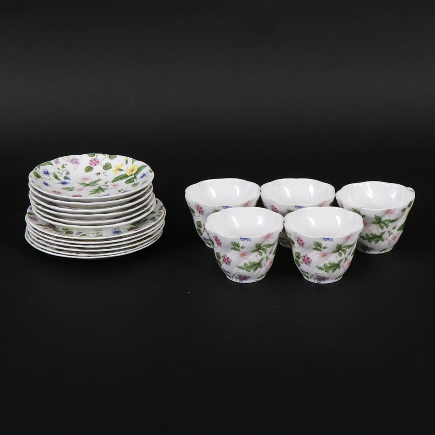 "Queen's ""Country Meadow"" English Fine Bone China, 20th Century"