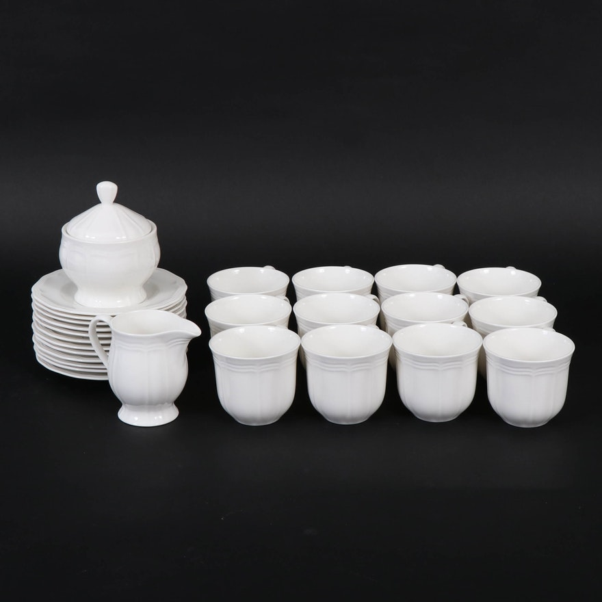 """Mikasa """"Antique White"""" Fine China Cups and Saucers with Sugar and Creamer Set"""