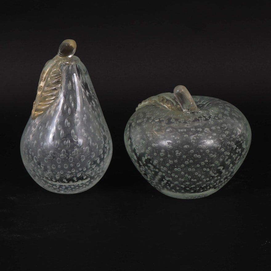 Controlled Bubble Apple and Pear Art Glass Paperweights