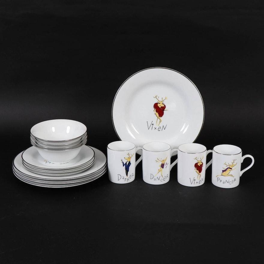 "Pottery Barn ""Reindeer"" Porcelain Dinnerware"