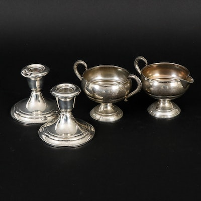 Gorham Sterling Silver Candle Holders with Other Sterling Sugar and Creamer Set