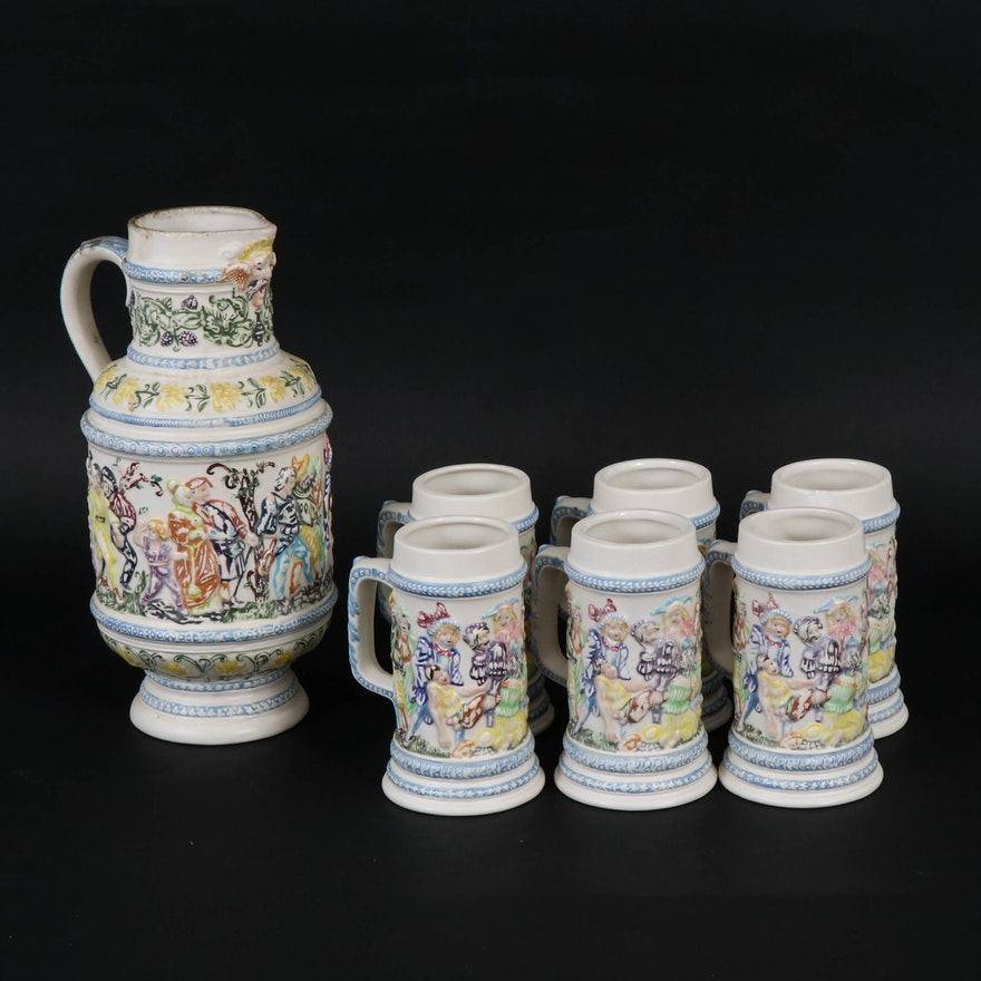 Hand-Painted Stoneware Pitcher and Mugs, 1970