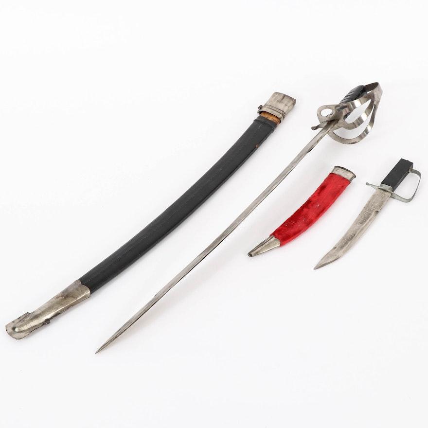 Souvenir Replica Indian Cavalry Sword with Scabbard, and Cavalry Dagger