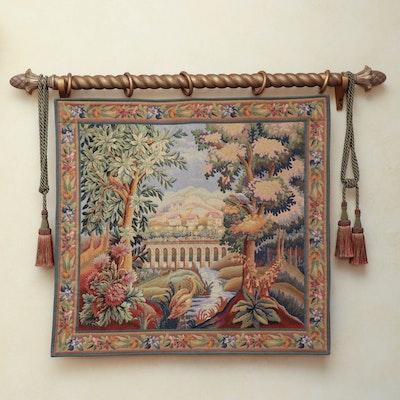 "Machine-Woven Jacquard Tapestry ""Warwick Castle,"" 20th Century"