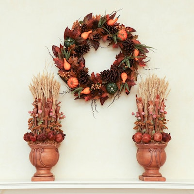 Fall Wreath and Decor Including Pomegranate and Wheat Topiaries