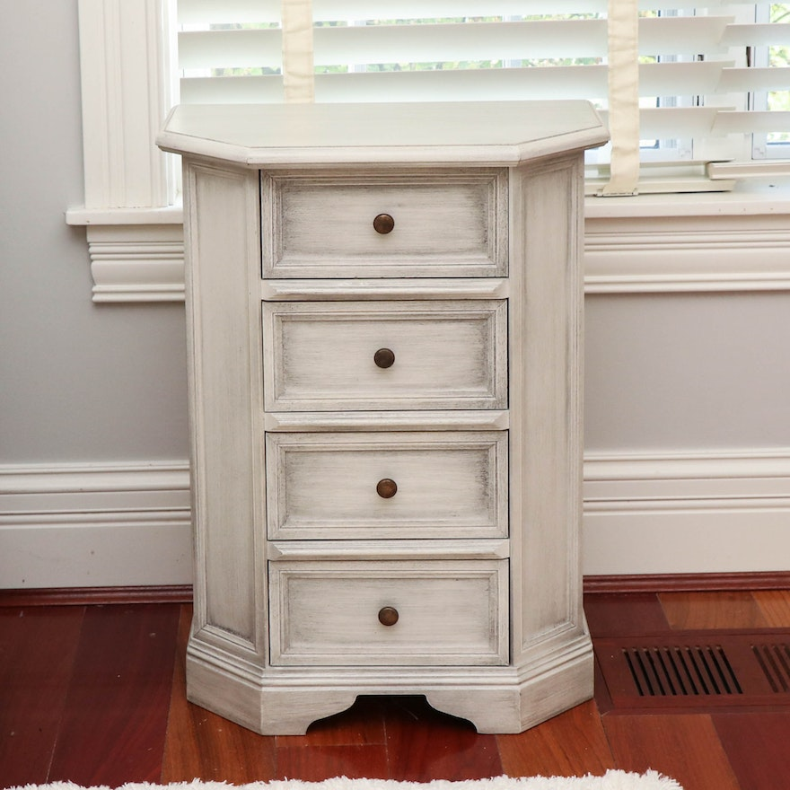 Contemporary Italian Bedside Chest in Distressed White Painted Finish