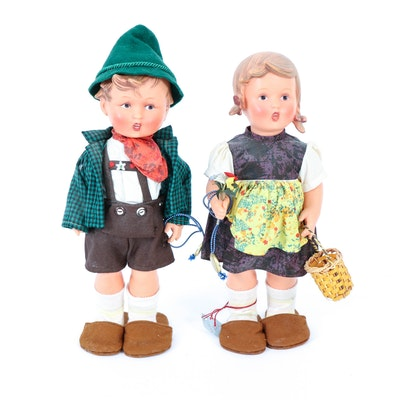 Goebel Hummel Hansel and Gretel Dolls, Mid to Late 20th Century