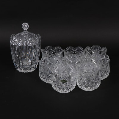 Crystal Biscuit Jar and Shannon Crystal Votive, Late 20th Century