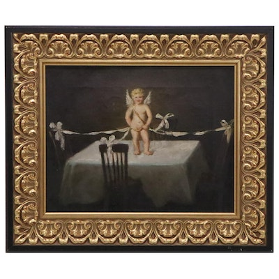 Oil Painting of Cupid Atop a Table, Early 20th Century