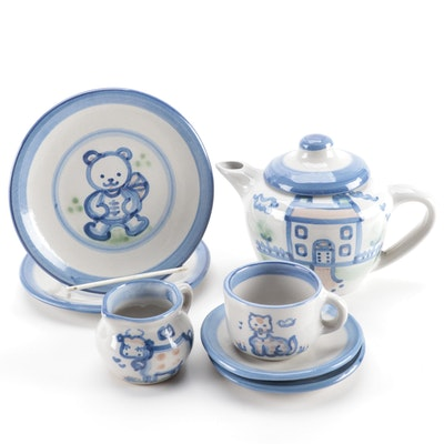 """M.A. Hadley Stoneware """"House"""" Teapot, Child's """"Teddy Bear"""" Plate, and More"""