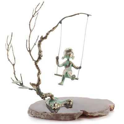 """Malcolm Moran Brass and Agate Sculpture """"Small Girl Swinging"""""""