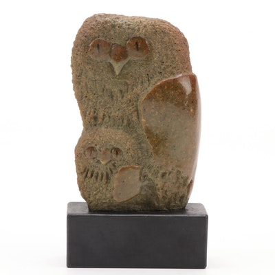 Frank Eliscu Mid Century Modern Stone Mother and Baby Owl