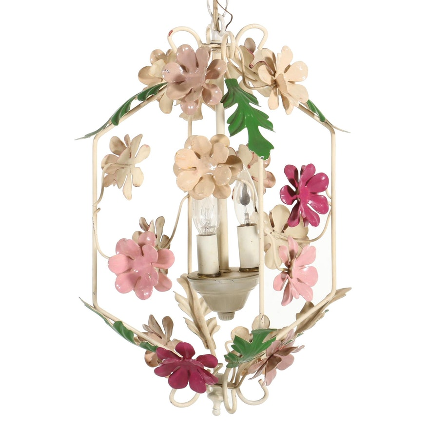 Italian Mid Century Floral Toleware Pendant Light, Mid-20th Century
