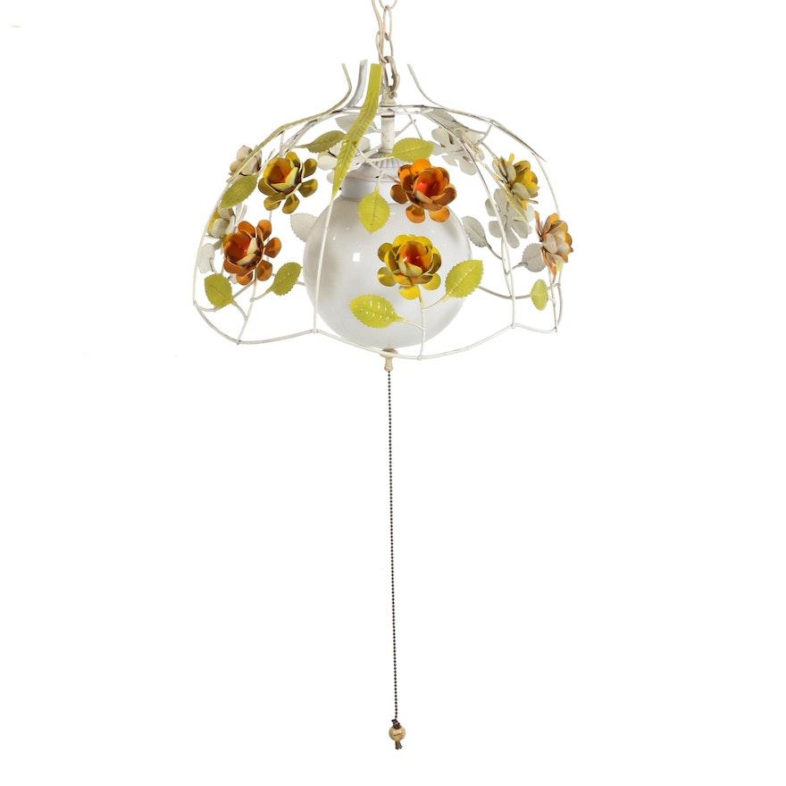 Italian Mid Century Toleware Floral Pull Chain Pendant, Mid-20th Century
