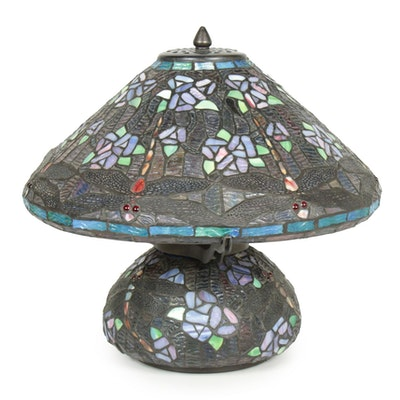 Dragonfly Motif Slag Glass Table Lamp, Late 20th Century