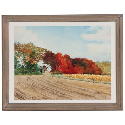 "Watercolor Painting ""Indiana Autumn"", 1986"