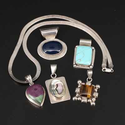 Sterling Silver Jewelry Featuring Gemstone Pendants and Herringbone Necklace