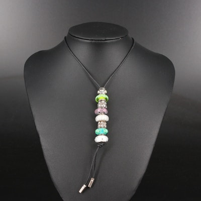 Chamilia and Pandora Sterling Slide Necklace with Murano Glass