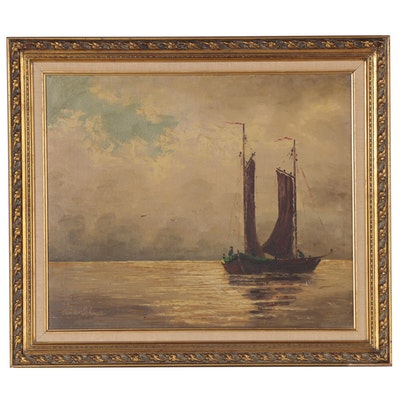 Nautical Oil Painting, 20th Century