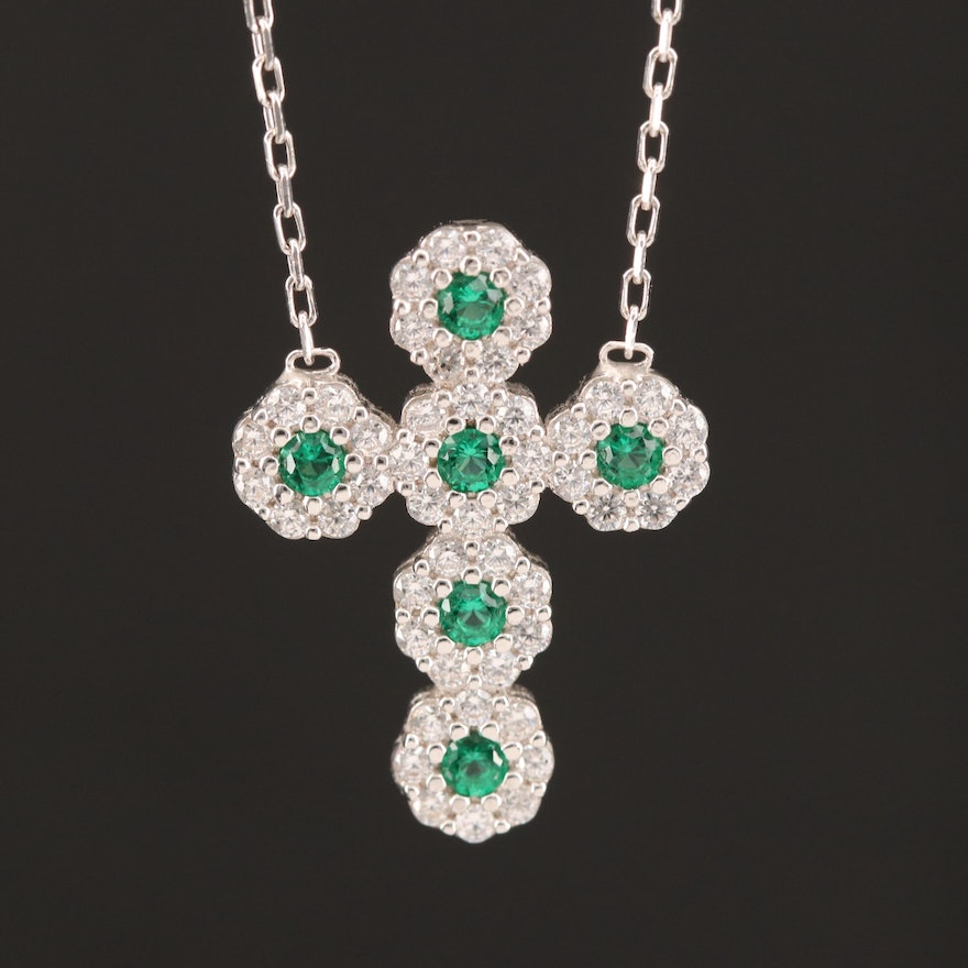 Sterling Silver Cubic Zirconia Cross Pendant Necklace