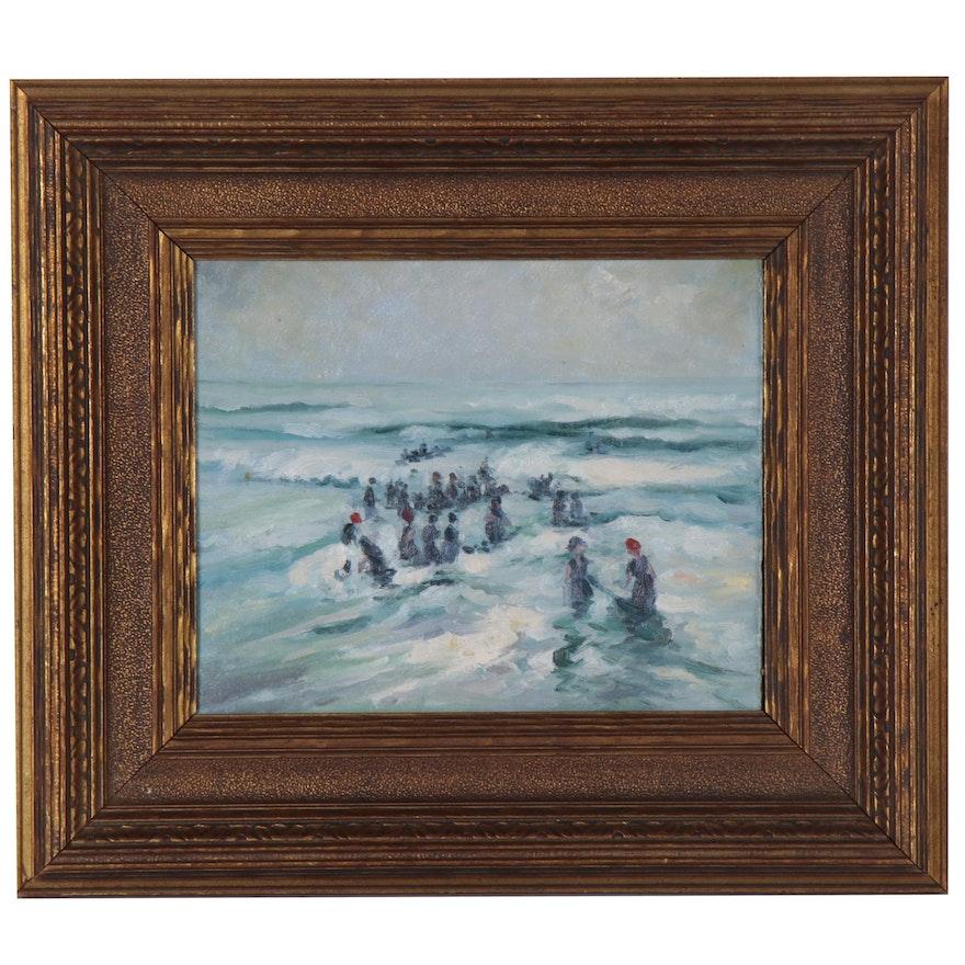 "Oil Painting After Charles Herbert Woodbury ""Splashing in the Surf"""
