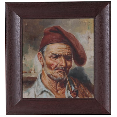 Roberto Figerio Oil Painting of Man with a Pipe, Late 19th Century