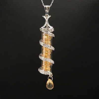 10K Sapphire and Diamond Vial Pendant Necklace