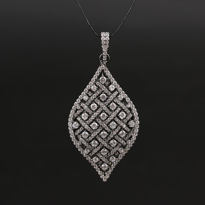 Sterling Silver Cubic Zirconia Pendant with Lattice Design