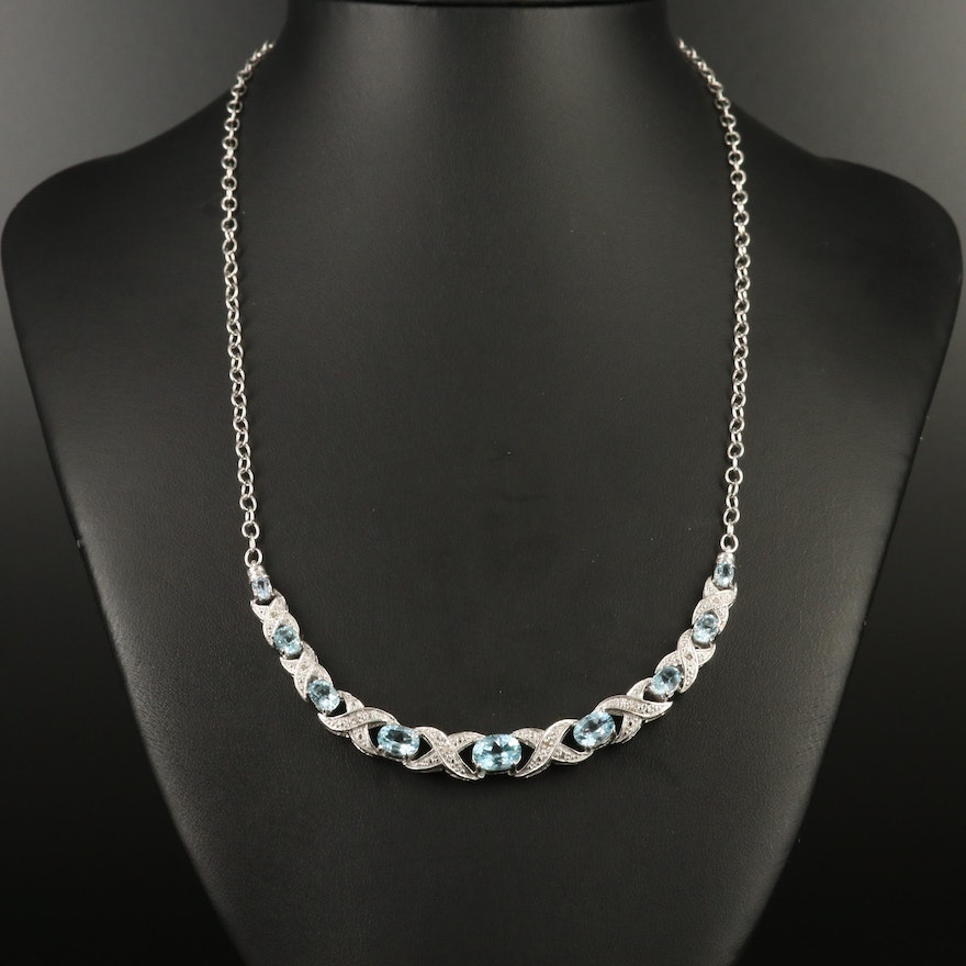 Sterling Silver Topaz and Diamond Necklace