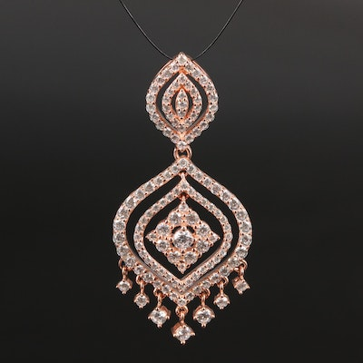 Sterling Silver Cubic Zirconia Arabesque Chandelier Pendant